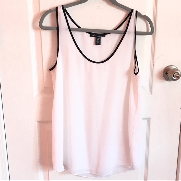 NWOT! Kenneth Cole Sheer White Tank Blouse Sz M